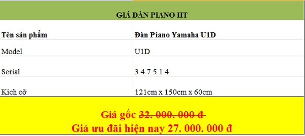 Giá đàn piano Yamaha U1 chất lượng tại piano HT