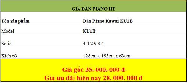 Giá đàn piano Kawai KU1B tại pianoht.vn