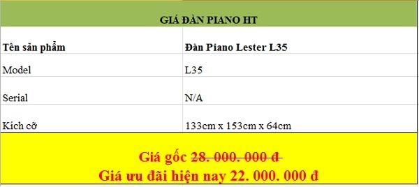 Giá đàn piano Lester tại công ty Hoàng Thái mà bạn có thể tham khảo